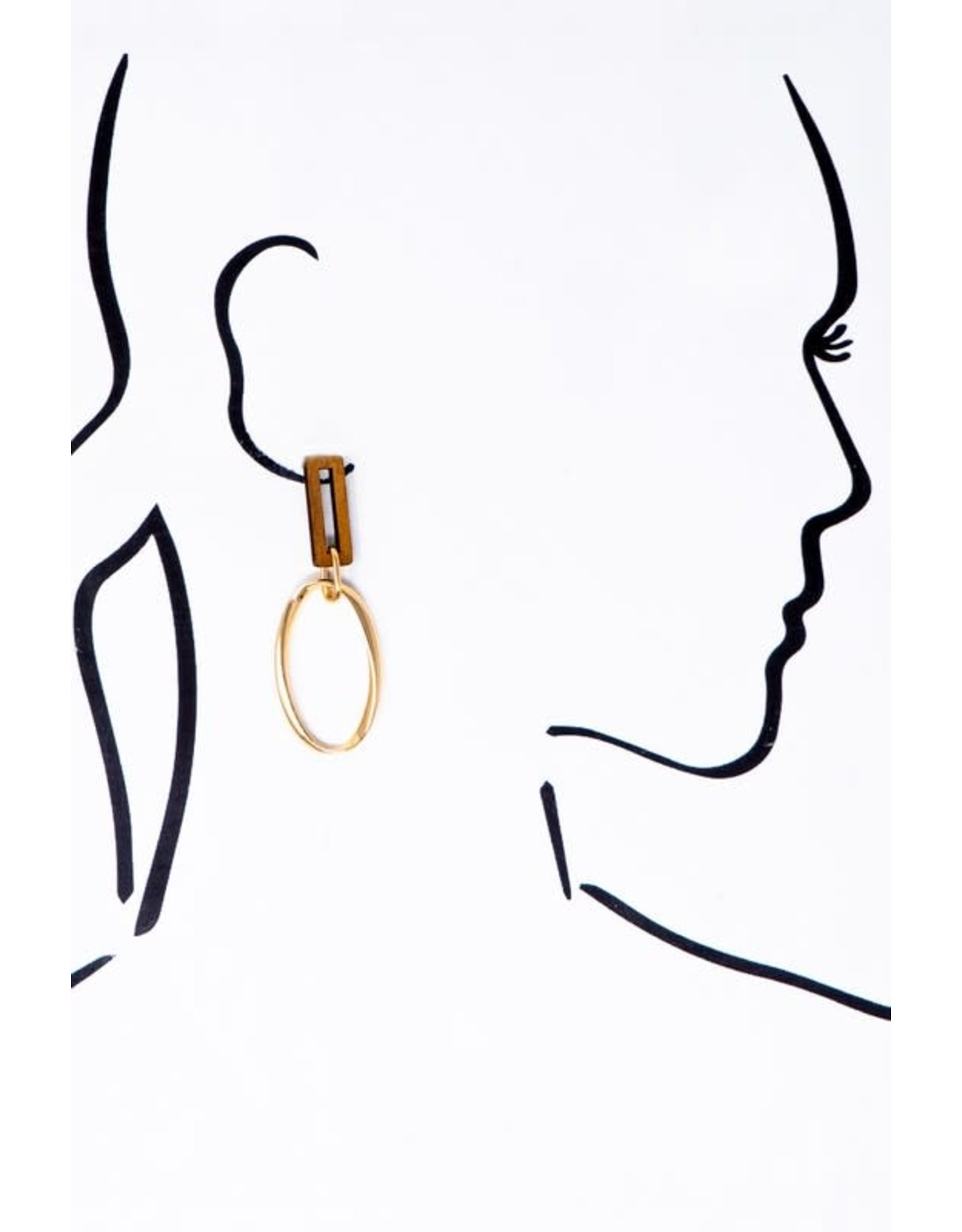 "Size: 1X2.5"" Rectangle Wood And Metal Oval Hoop Drop Earrings - Color: Gold"
