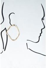 """Size: 2"""" X 2.5"""" Twisted Flat Gold Wire Irregular Shape Hoop Earrings"""