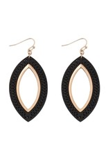 Black and Gold Marquise Wood Filigree Earrings
