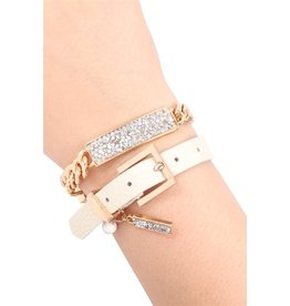 Riah Fashion Convertible Rhinestone Charm Bracelet/Choker Color: Ivory/Silver