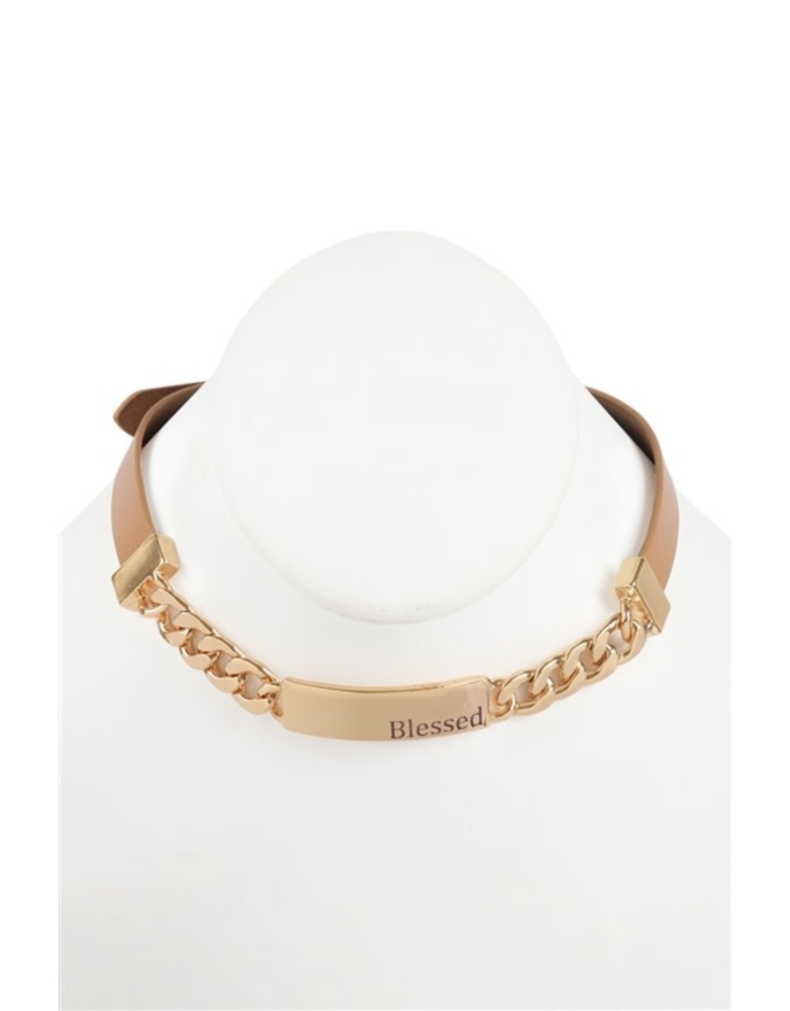 Riah Fashion Convertible Blessed Charm Bracelet/Choker Color: Tan/Silver