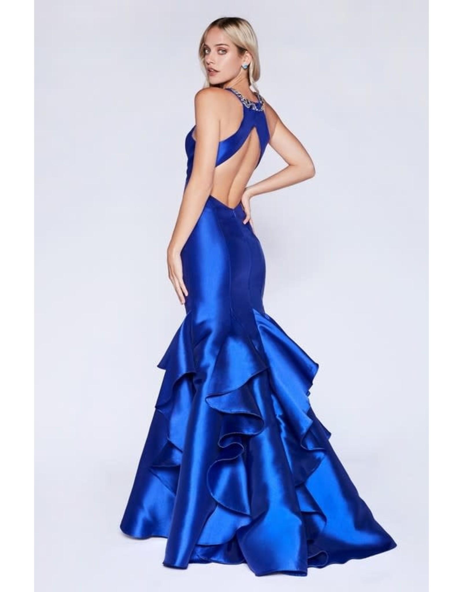 Royal Blue Ruffle Prom Dress