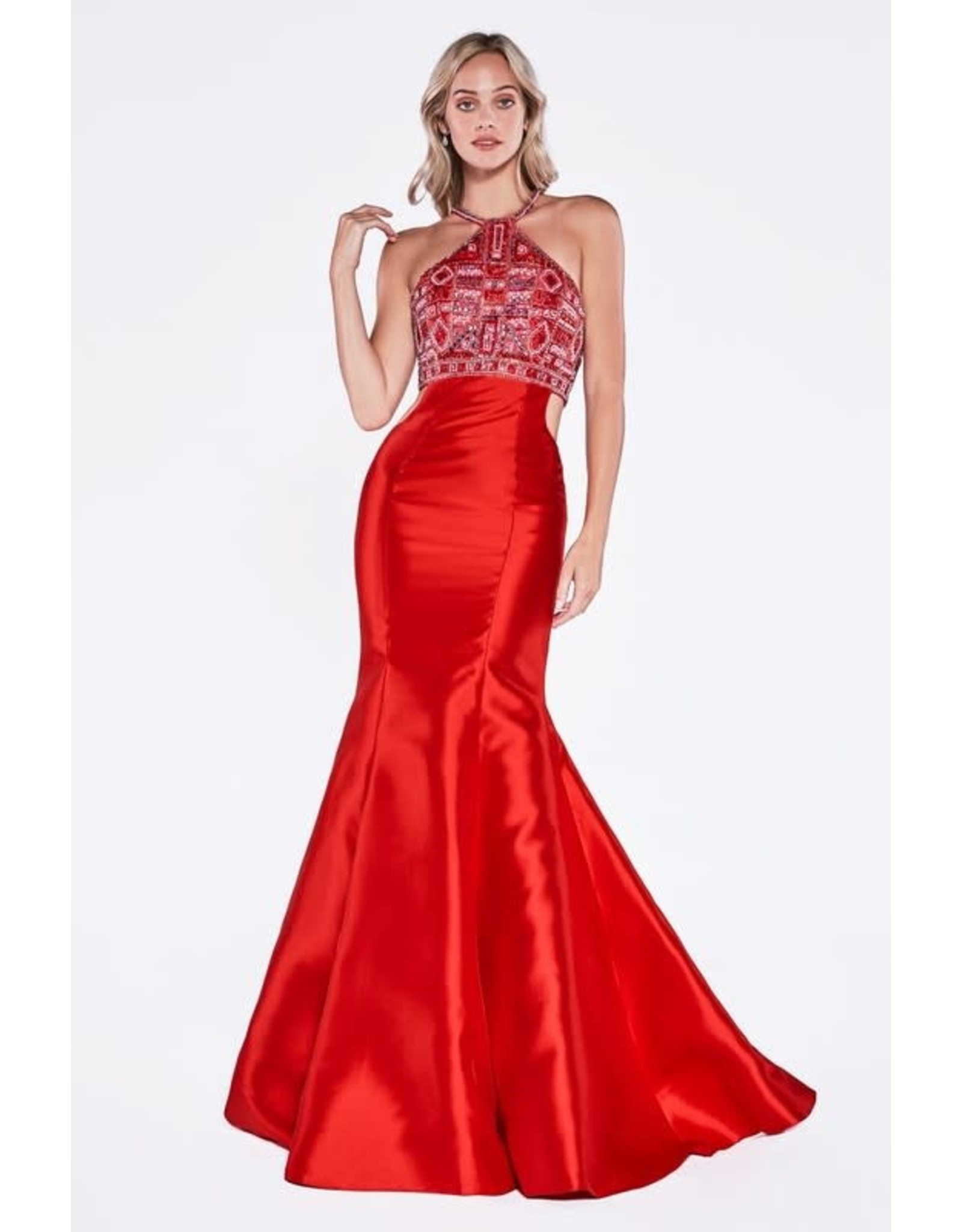 Red Bead Halter Top Prom Dress