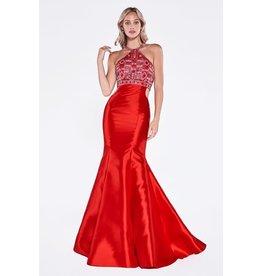 Red Bead Halter Top Prom Dress