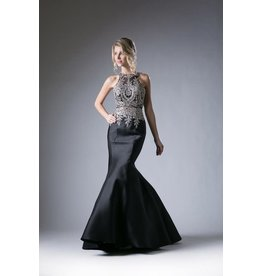 Beaded Lace Bodice Satin Mermaid Prom Gown