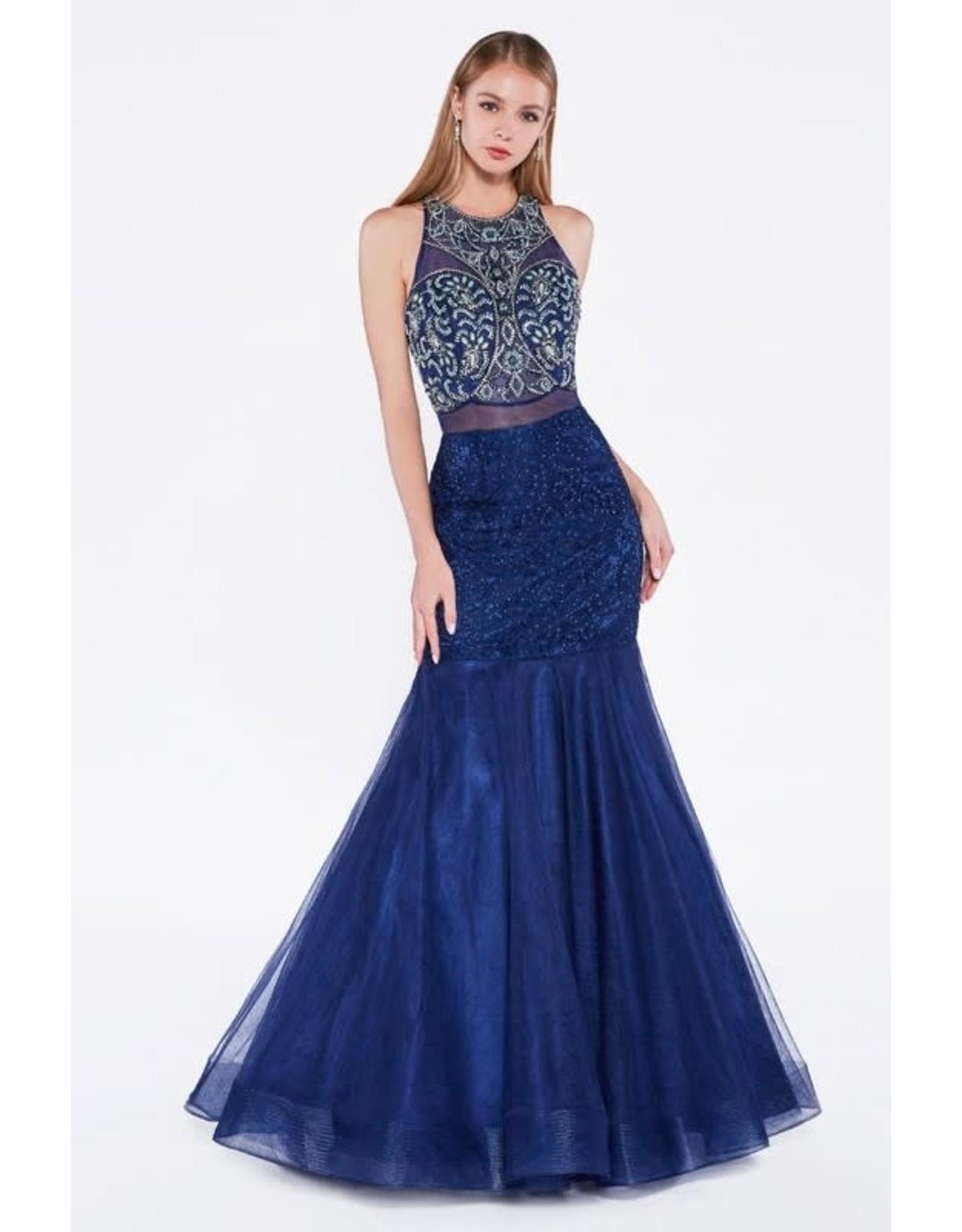 Navy Blue Beaded Prom Dress