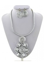 Cord Metal Necklace and Earring Set