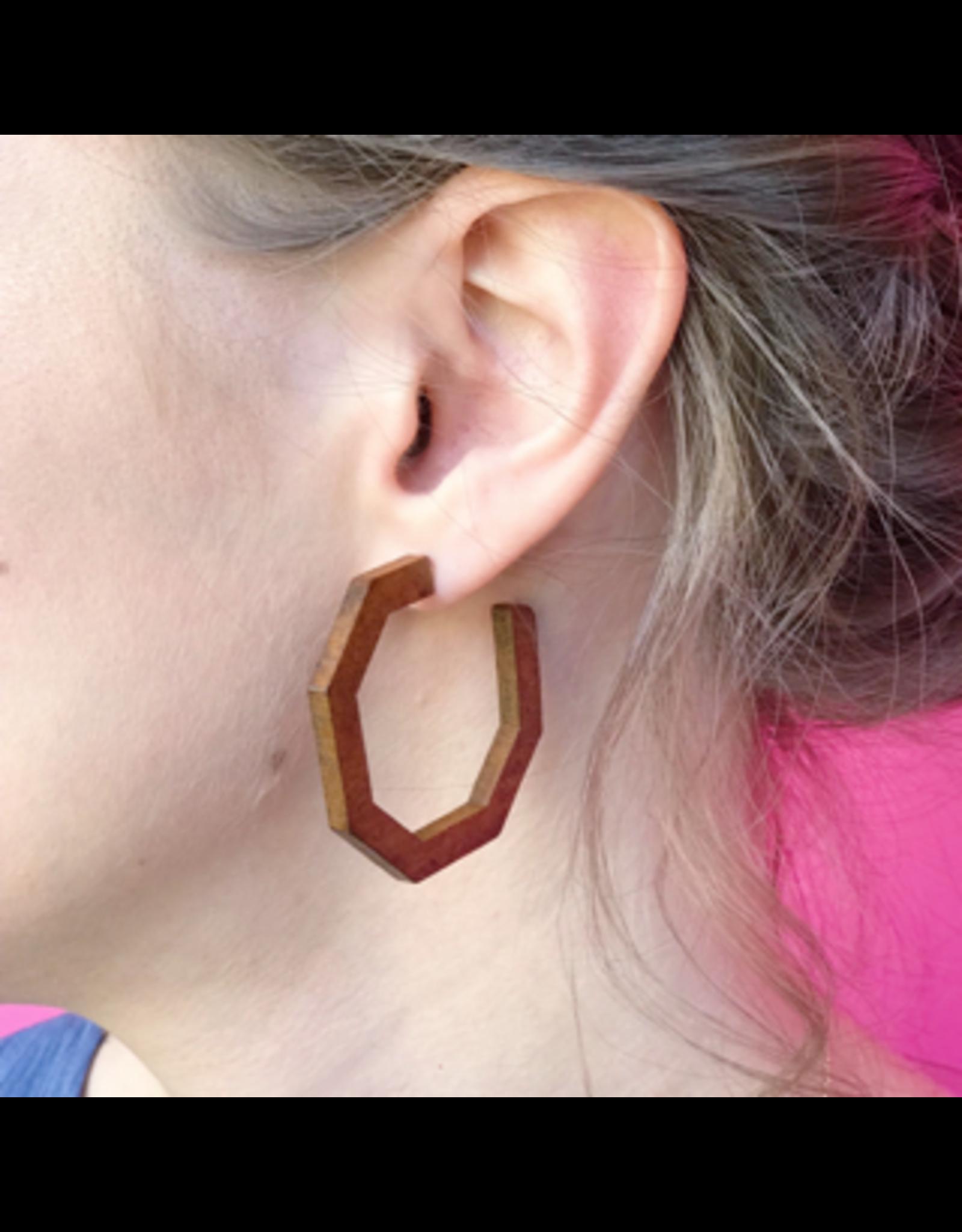 Wooden Octagon Hoop Earrings
