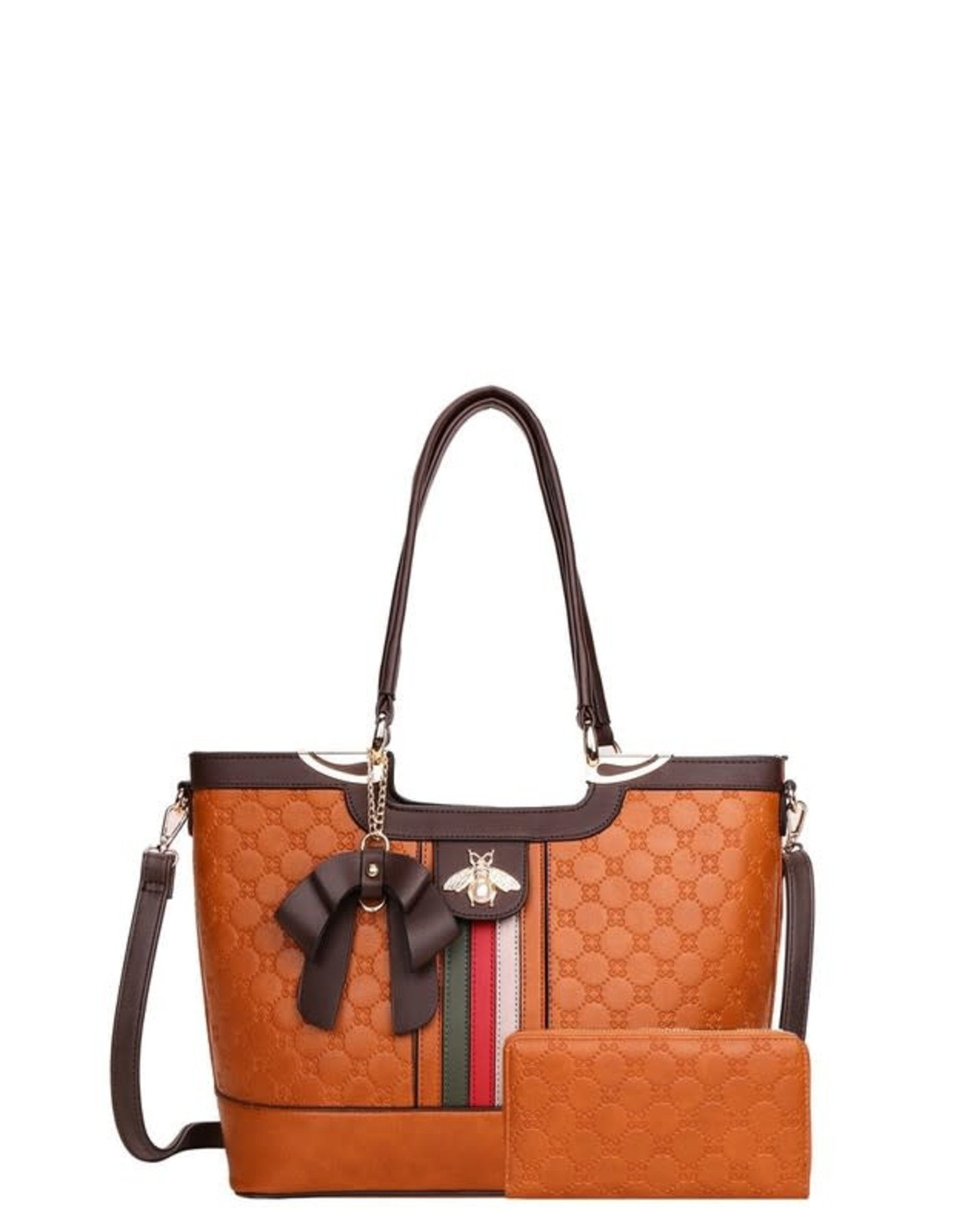 Rhinestone Bee Striped Tote and Wallet Set