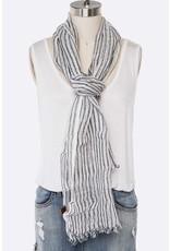 Navy Cotton Linen Stripe Oblong Scarf