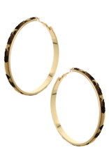 Gold/Leopard Hoop Earrings Lead Compliant