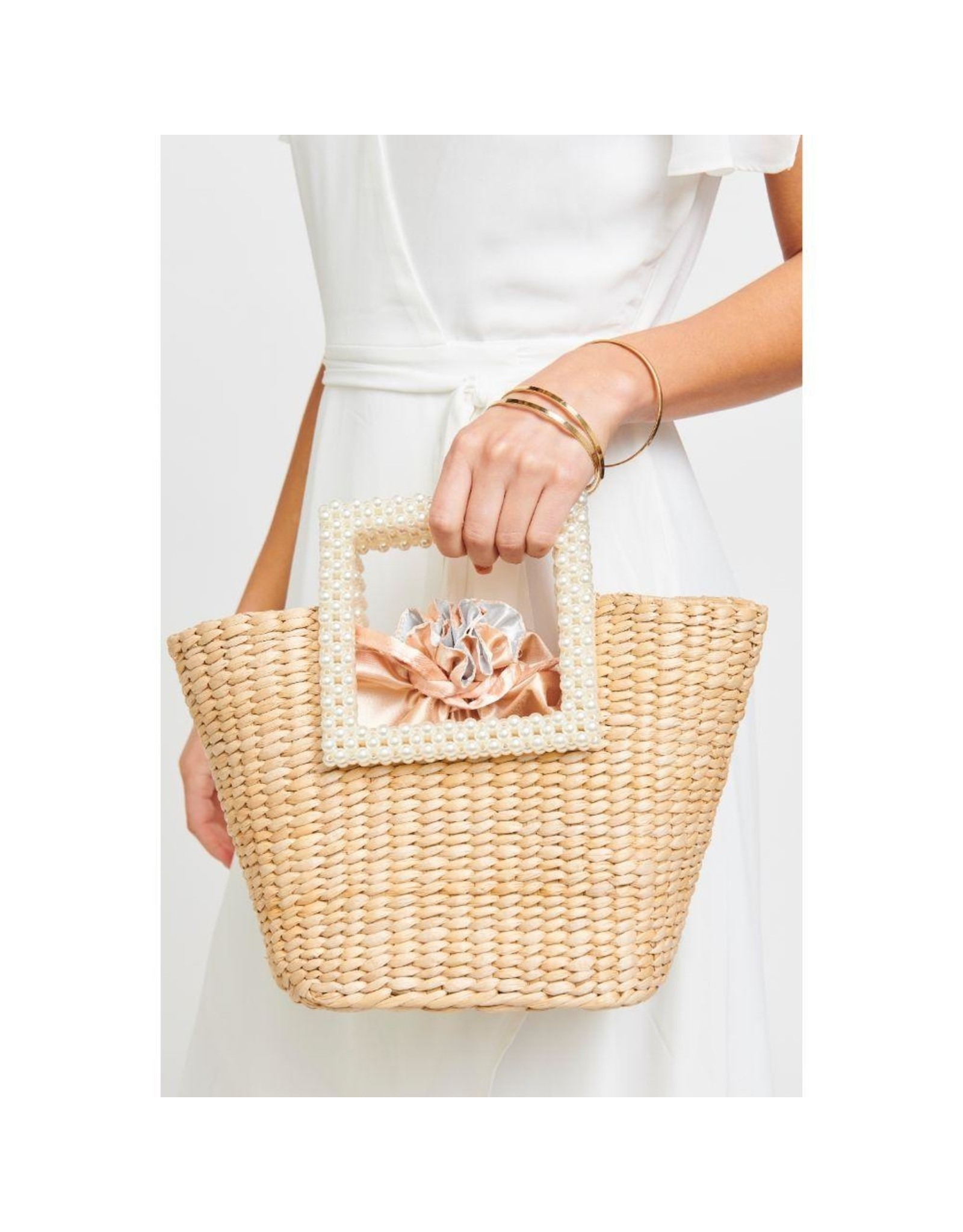 Woven Straw Whitsunday Pearl Handle Tote