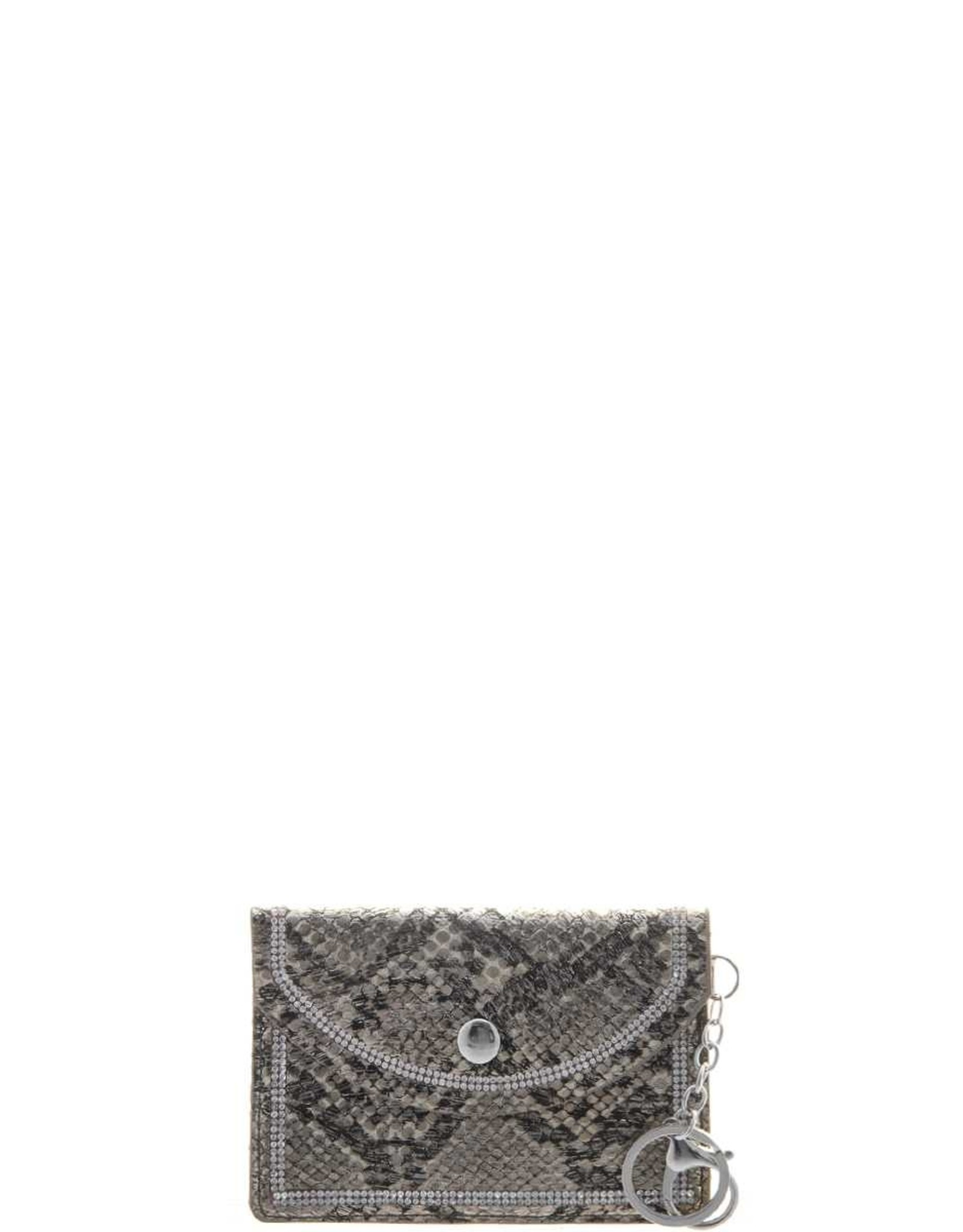 Snake Skin Studded Rhinestone Border Mni Clutch Key Chain