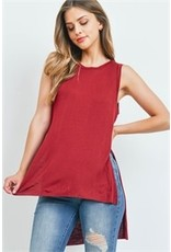 Sleeveless round neck slit side high-low tunic top