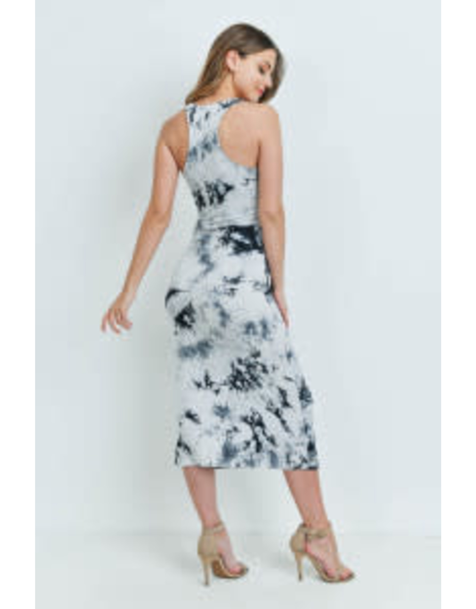 White and Black Tie Dye Racerback Dress
