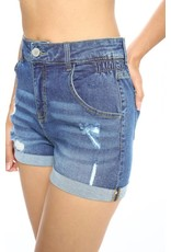 Destroyed Denim Shorts with Butt Lifting
