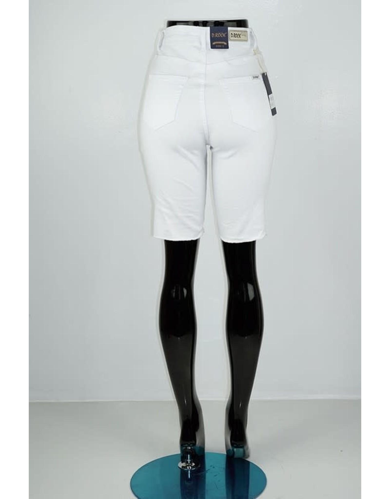 White High Waisted Distresed Denim Bermuda Shorts