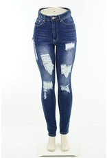 High Waisted Distressed Stretch Skinny Jeans