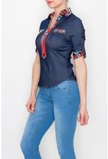 Stretch Denim Shirt with Contrast Collar