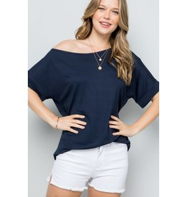 Navy Off the Shoulder Jersey Top