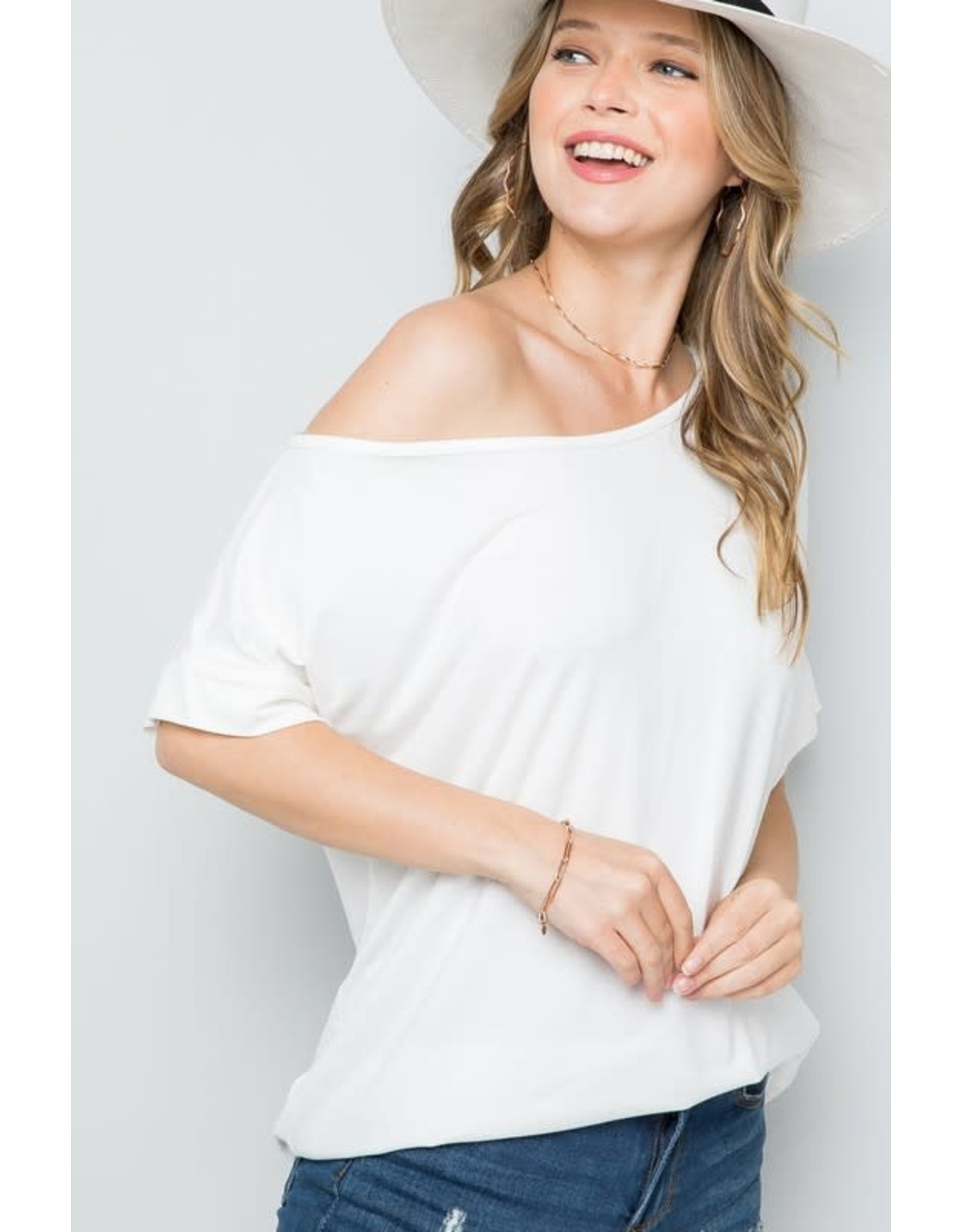 Ivory Off the Shoulder Jersey Top