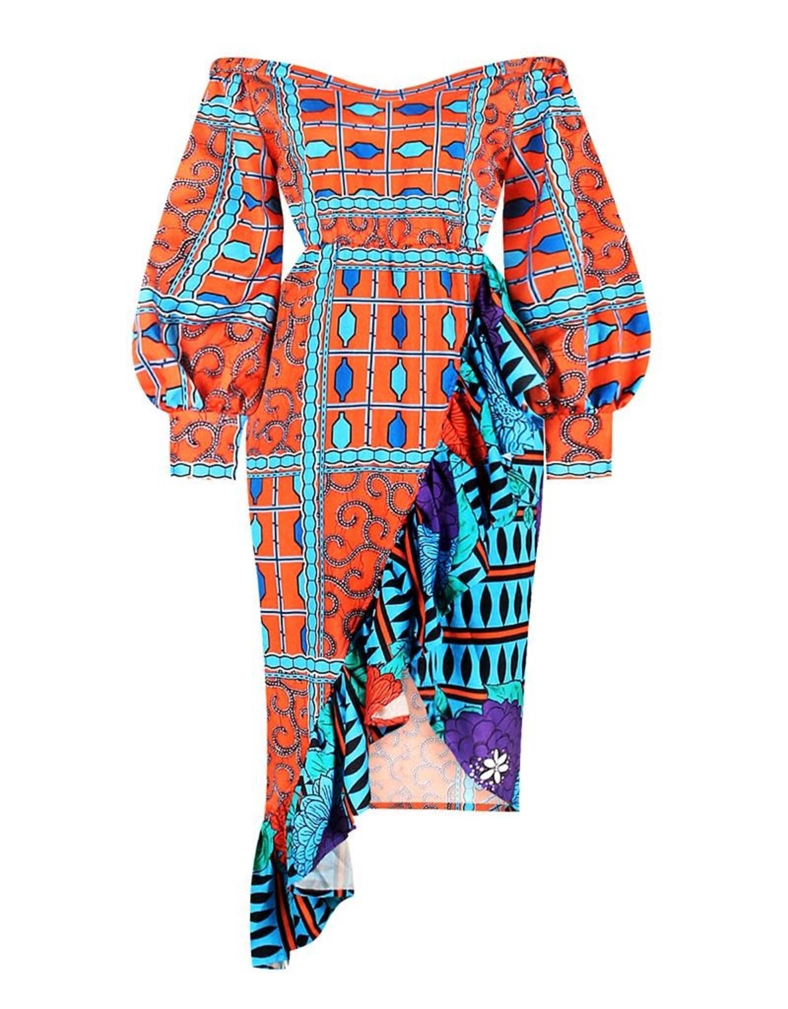 Asymmetrical Off the Shoulder Ruffled Hem Dress
