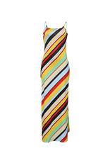 Diagonal Striped Colorblock Maxi Dress