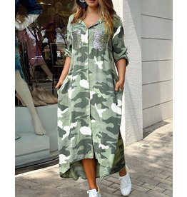 Button Down Camouflage Maxi Dress w/ Sequin Pockets