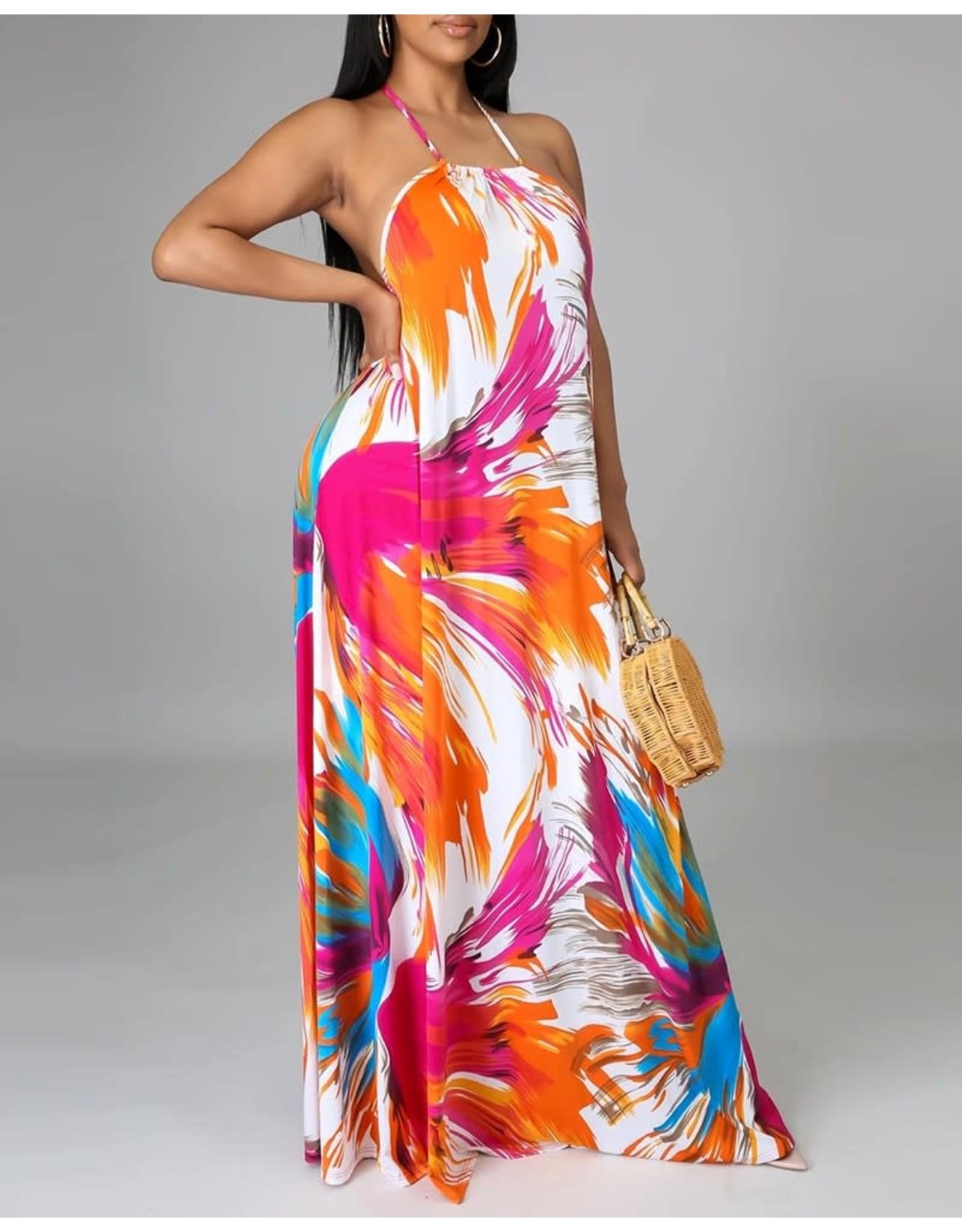 Backless Floral Halter Maxi Dress