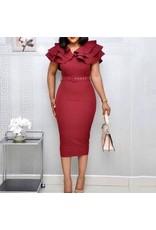 Tiered Ruffles Collar Dress