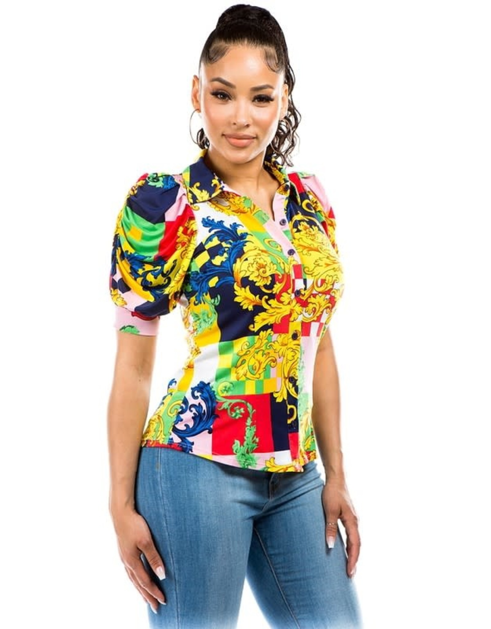 Color Block Collared Shirt with Puff Sleeves