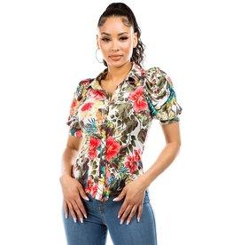 Floral Puff Sleeve Collard Shirt