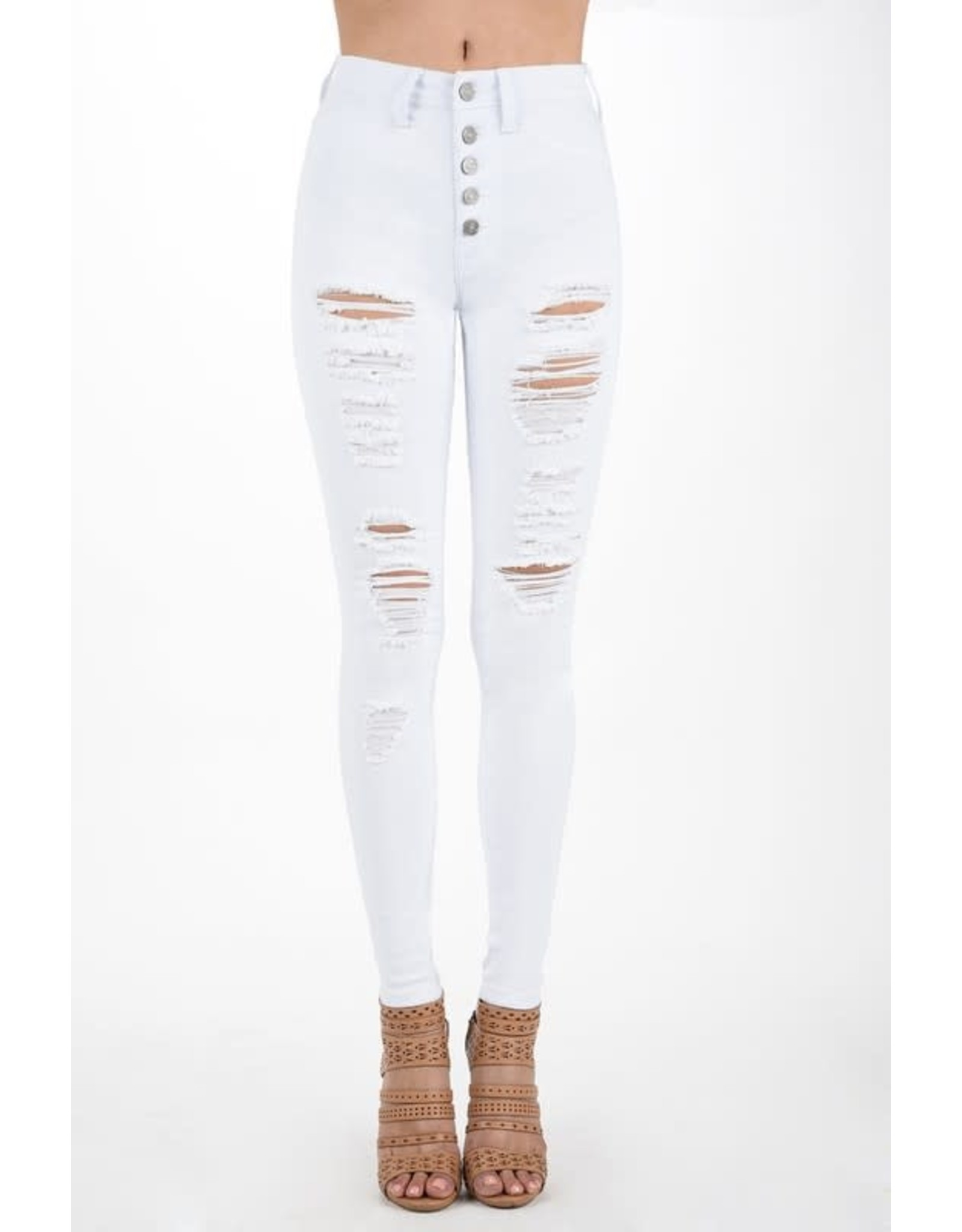 Button Fly White High Rise Destroyed Skinny Jeans