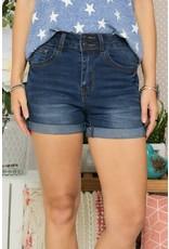 High-Waisted 5 Pocket Roll Up Denim Shorts