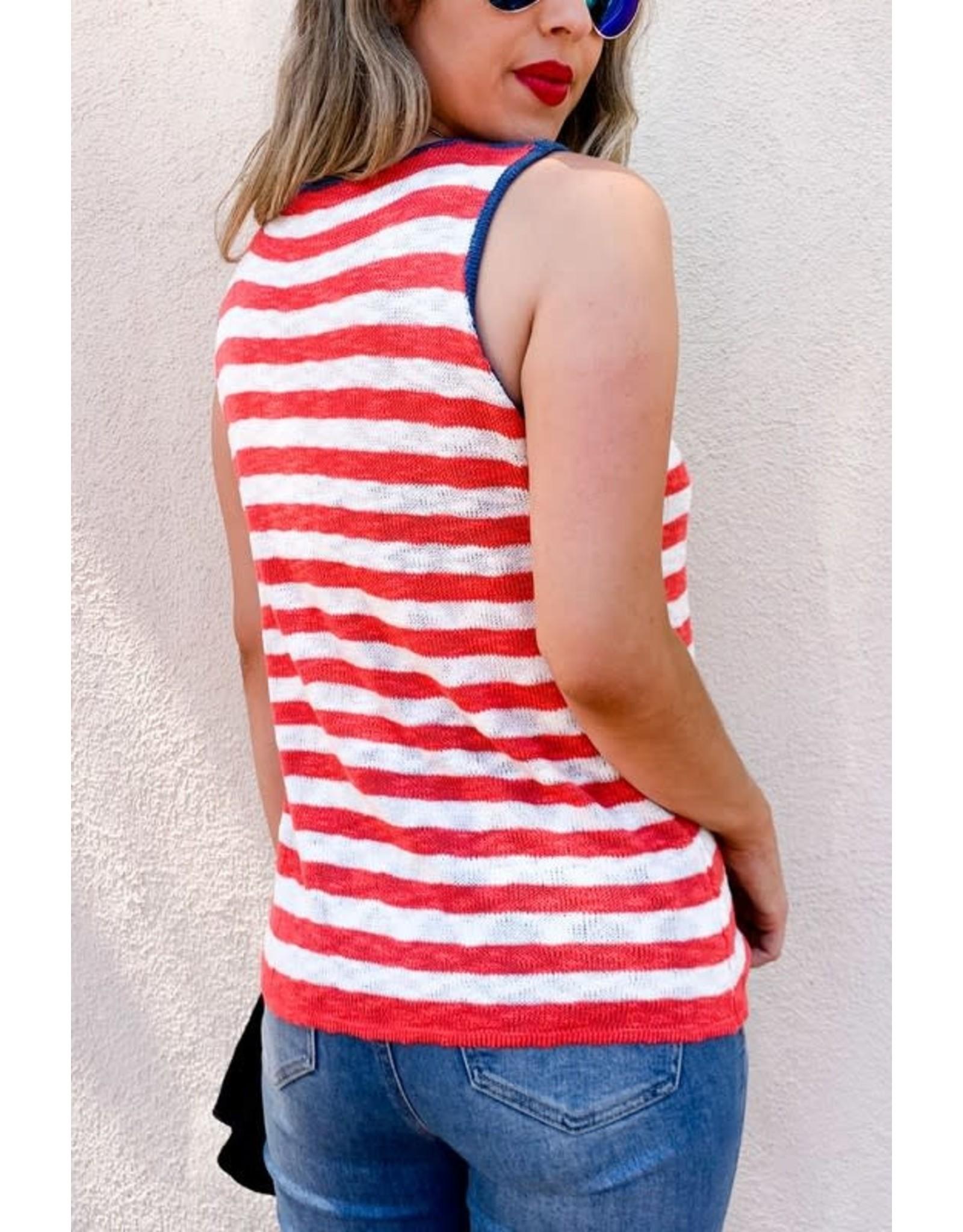 Sleeveless Knit American Flag Tank Top