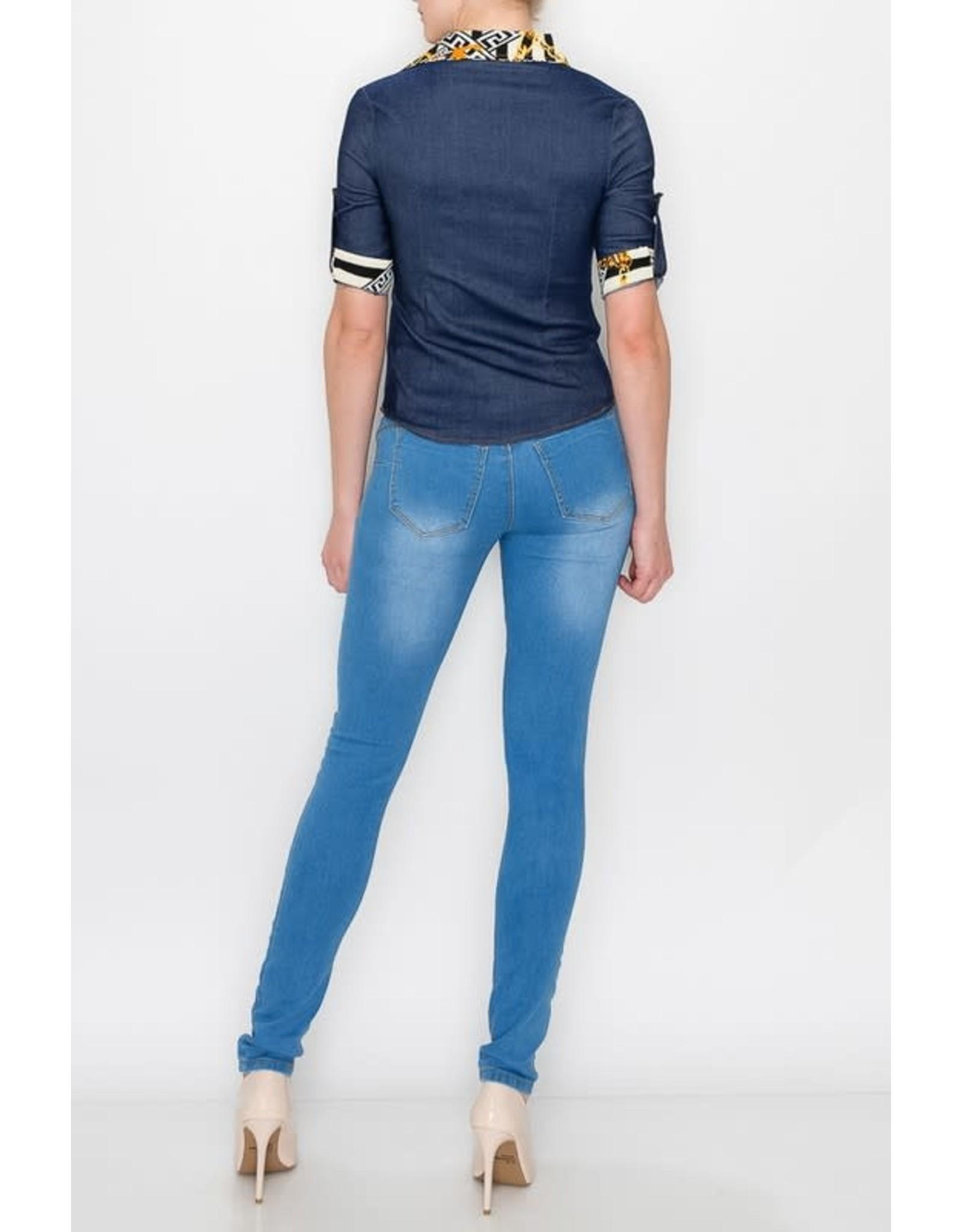 Stretch Denim Shirt with Zipper Collar Contrast