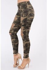 Distressed Front and Bank Camo Jeans