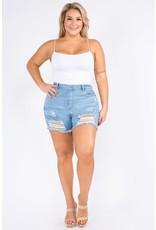 Plus Sized Distressed Bermuda Shorts