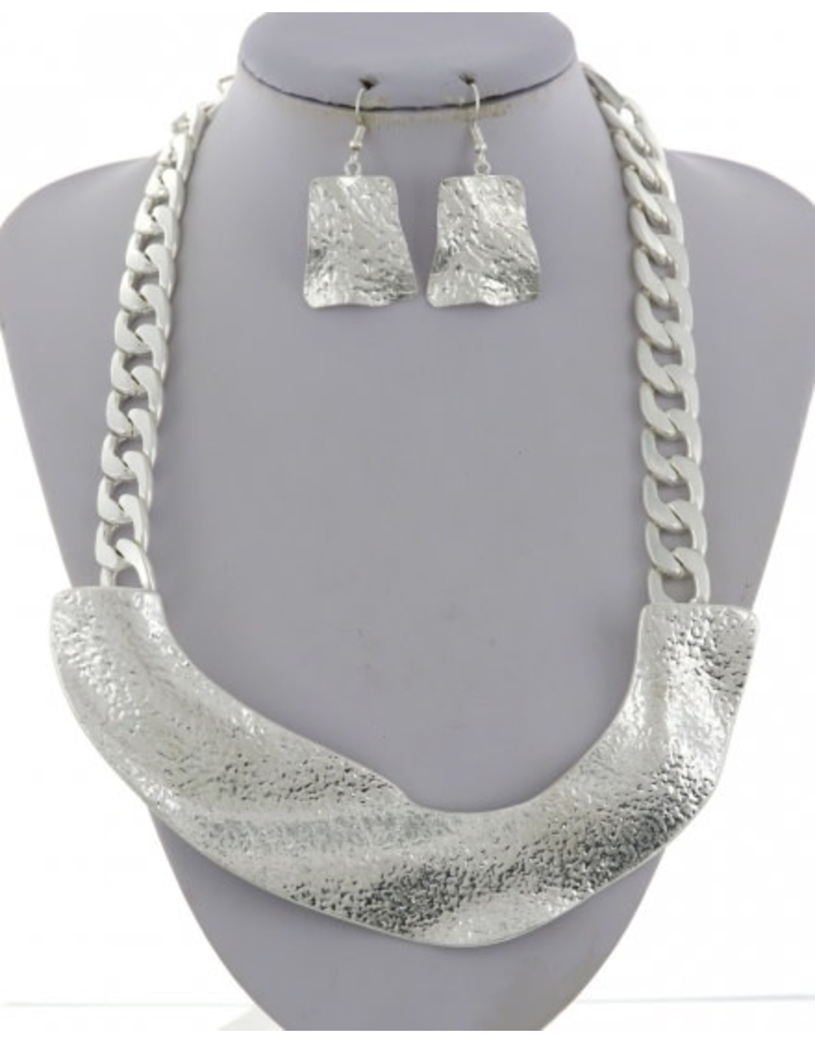 Hammered Metal Necklace and Earring Set