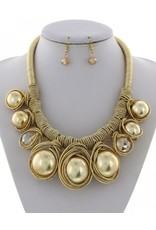 Gold Cord Glass Pearl Necklace & Earring Set