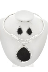 Hammered Metal and Acrylic Choker Necklace & Earring Set