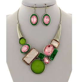 Pink and Green Acrylic Necklace and Earring Set