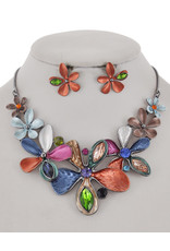 Glass Flower Necklace and Earring Set