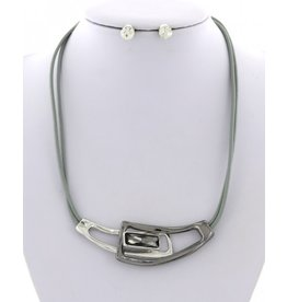 Two-tone Glass and Leatherette Necklace and Earring Set
