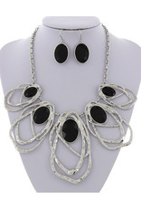 Hammered Glass Necklace and Earring Set