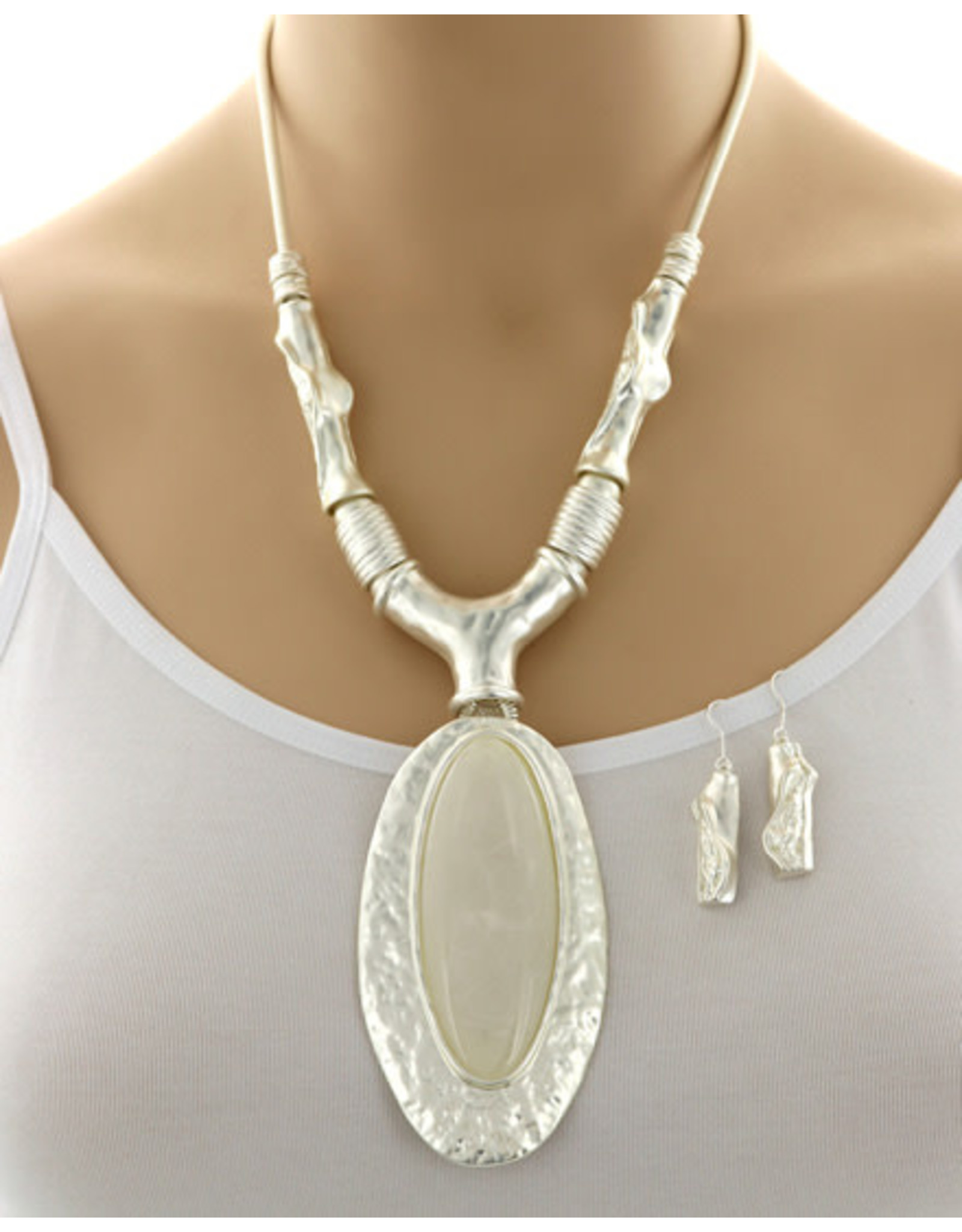 Large Acrylic Pendate Necklace and Earring Set