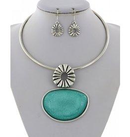 Turquoise Acrylic Pendant Choker& Earring Set
