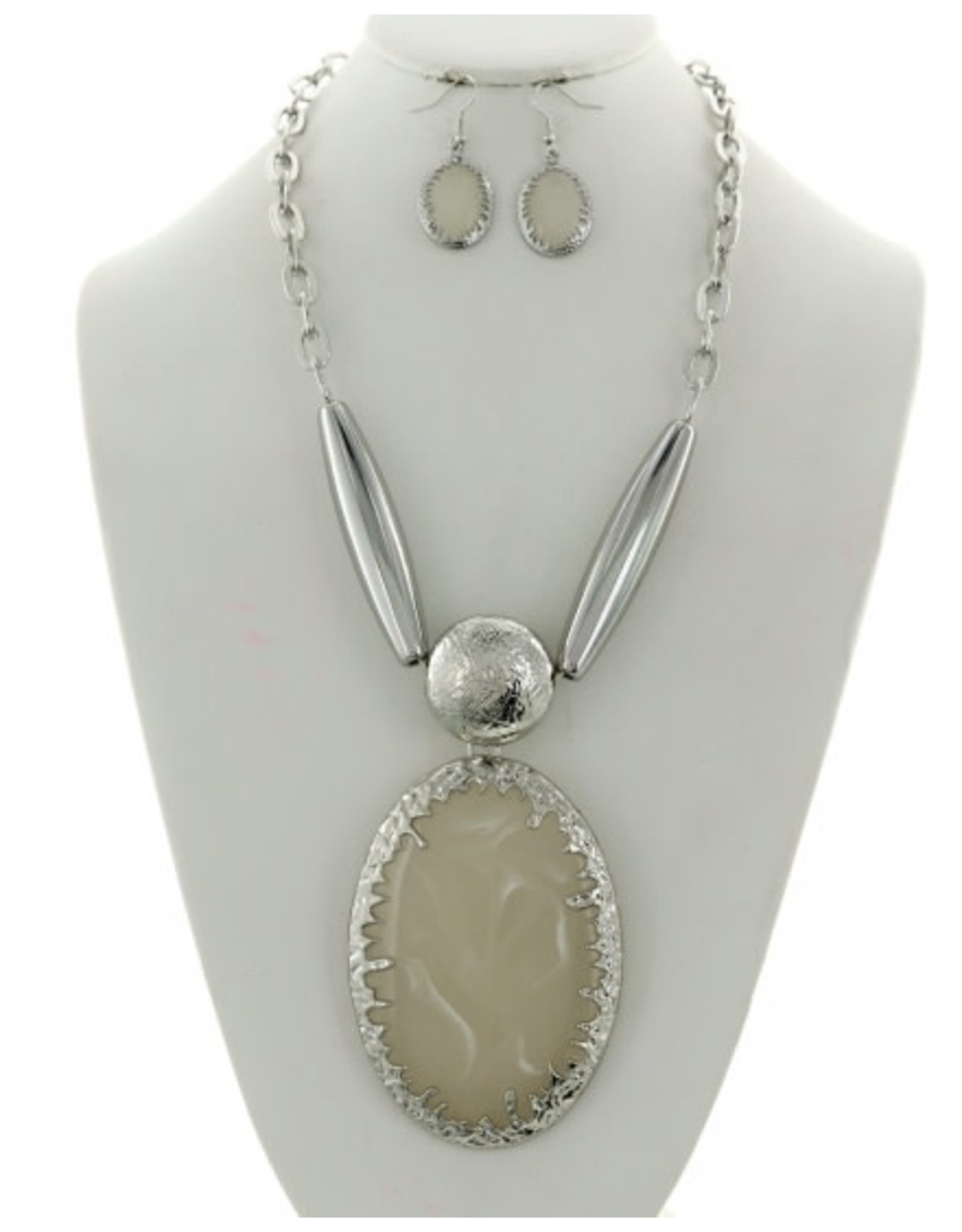 Cellulose Acetate Metal Fashion Necklace & Earring Set