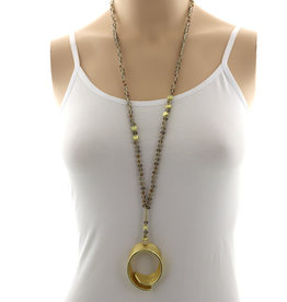 Long Gold and Grey Beaded Necklace