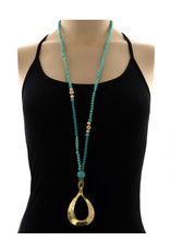 Long Beaded Gold and Turquoise Necklace